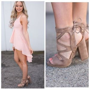 Shoes - Taupe strapped Suede lace up chunky heel