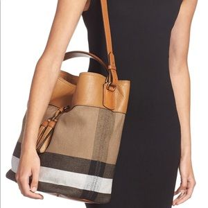 Burberry Handbags - Burberry Medium Ashby Bucket Bag, Saddle Brown