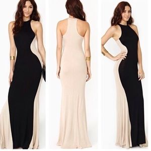 Black/Taupe Goddess Formal Dress