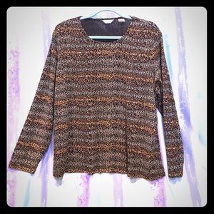 Laura Ashley plus size 1x brown long sleeve top