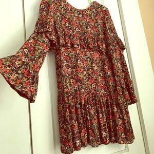 Zara Trafaluc Floral Tiered Ruffle Mini Dress