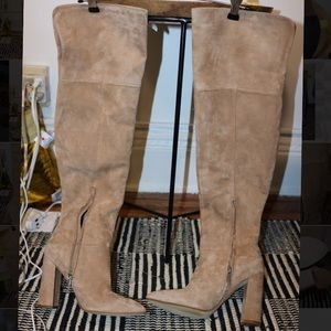 Marc Fisher Shoes - NWOT Marc Fisher Suede Beige Over the Knee Boot