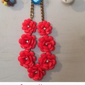 J. Crew Jewelry - J.Crew Red Floral Statement Necklace