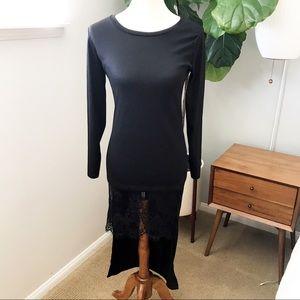 Dresses & Skirts - Black Knit Long Sleeve Shirt dress size Large