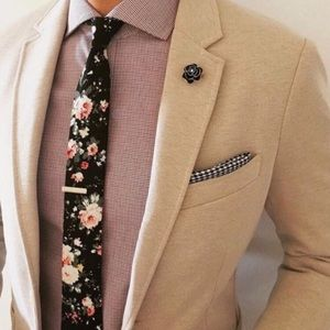Other - men's black floral neck tie
