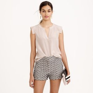 J.Crew Beige Black Punched Out Eyelet Dress Shorts