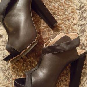 L.A.M.B. Shoes - L.A.M.B. Black Leather and Satin Heel