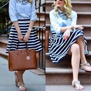 chicwish Dresses & Skirts - Chicwish Navy Striped Midi Skirt Nautical M