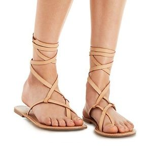 Laced-up Toe Loop Sandals