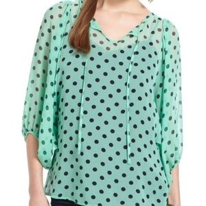Karen Walker Tops - Anthropologie Spotted Peasant Blouse NWT 8