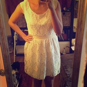 American Eagle Outfitters Cream Lace Dress.