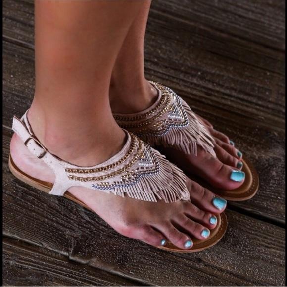 0abb958c1db5 Gladiator Chic Fringe Studded Aztec Sandals