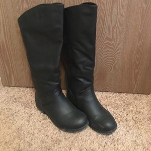 Journee Collection Shoes - Wide calf black riding boots