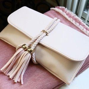 Jaded Affairs Handbags - Rope Tied Fringe Clutch/Purse (Light Pink)