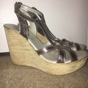 Callisto Shoes - Silver Wedges