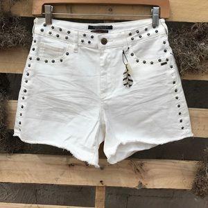 Scotch & Soda Pants - NWT SCOTCH & SODA White Metal Stud Jean Shorts 25