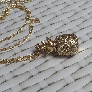 Pineapple necklace gold tone rhinestone handmade