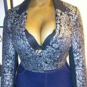 Jackets & Blazers - Black & silver metallic bolero crop blazer/jacket