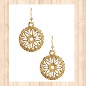 Gold plated Olivia Welles filigree drop earrings