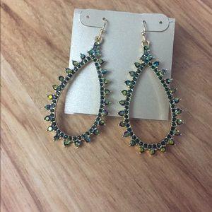 Dangle earrings gold tone green crystals,