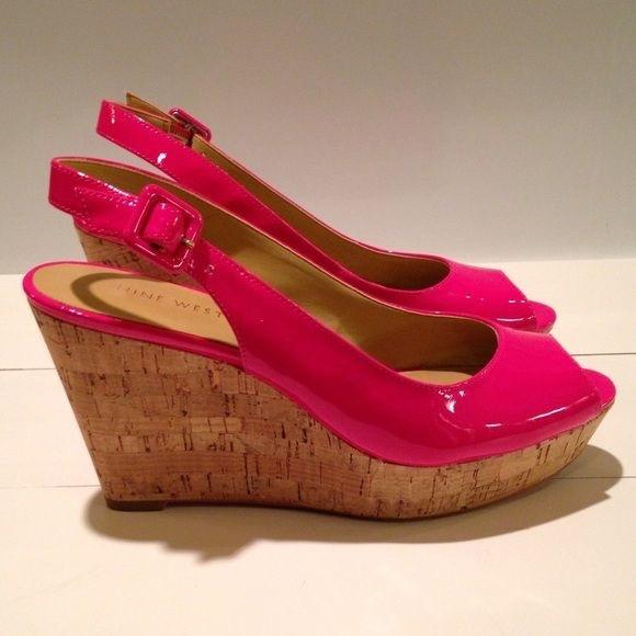 896b01877b3 [Nine West] Hot Pink/ Cork wedge heels