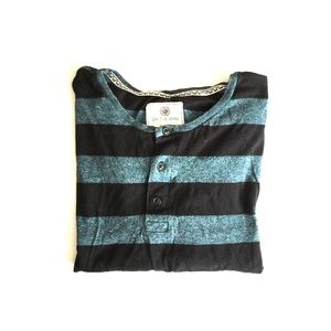 on the byas Other - On the Byas blue black striped short sleeve tee L