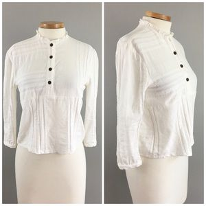 Loup Tops - Loup White Button Up Cotton Semi Crop Blouse