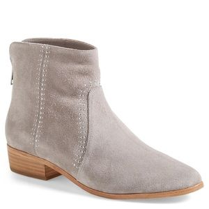 New Joie Grey Suede Studded Booties