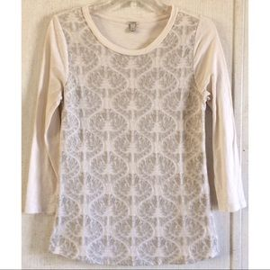 J Crew Floral Embroidered Front Top