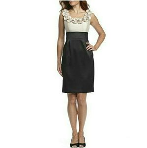London Times Dresses & Skirts - London Times Petite Rosette Neckline Banded Dress