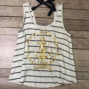 annabelle Tops - Striped Sailor Drape Tank