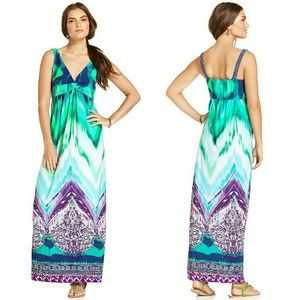 AGB Dresses & Skirts - AGB Exotic Print Twist-front Maxi Dress NWT