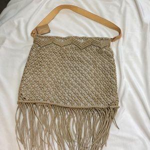 Handbags - Fringe crochet shoulder bag