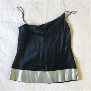 DKNY Tops - Fun,silk, satin black with trim gray metallic tops