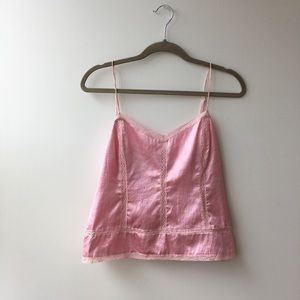ADORABLE PINK SILK VINTAGE PRINCESS CAMISOLE TOP
