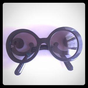Prada Accessories - Prada Oversized Baroque Round Sunglasses in Black