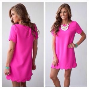Molly Dolly Dresses & Skirts - 💜LAST ONES💜 Barbie Pink Chic Scallop Mini Dress