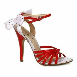 Ellie Shoes - Ellie Sally Red & White Polka Dot Pinup Heels