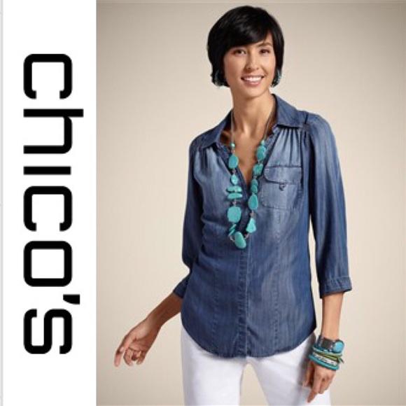 887068668 Chico's Tops | Chicos Tencel Denim Chambray Button Down Tunic | Poshmark