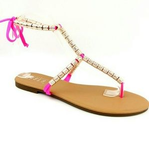 Hot Pink Bead Sandals