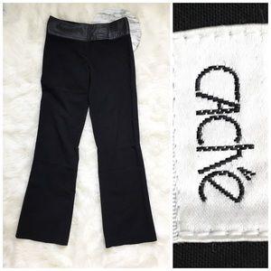 Cache Pants - Cache Leather Band Black Slacks