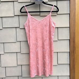 Pink velvet slip dress by Monki size S