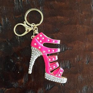 Jeweled High Heeled Shoe Keychain or Bag Charm