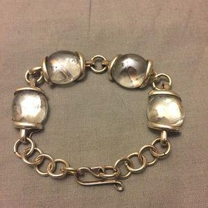 Vintage Jewelry - Vintage clear flat marbled bracelet