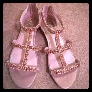 Vince Camuto Shoes - Vince Camuto tan rose gold leather sandals