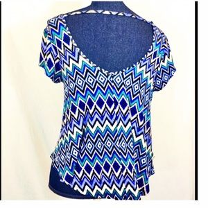 Ultra Flirt Tops - NEW MACY'S Blue Large Open Back Top Ultra Flirt