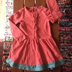 Mini Boden Other - Mini Boden Coral & Teal Colorblock Ruffle Dress