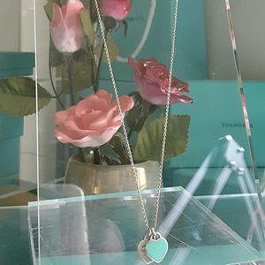 Tiffany & Co. Jewelry - Tiffany & Co. Blue enamel Double Heart Necklace