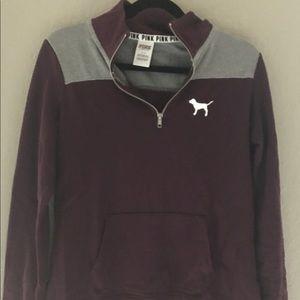 PINK Victoria's Secret Sweaters - PINK maroon zip-up❤