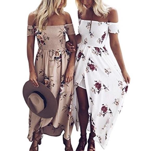 368ebfbf0d Floral Off the Shoulder Chiffon Maxi Dress